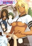 4girls apache arrancar bleach blonde_hair blue_hair bob_cut breasts brown_hair character_name cyan_sung-sun dark_skin emilou_apacci espada facial_mark franceska_mila_rose green_hair hitsugaya_toushirou kei-suwabe large_breasts long_hair mila_rose multiple_girls school_uniform short_hair skirt sun-sun tia_harribel tier_harribel toy_sword translated under_boob underboob white_hair wooden_sword