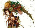 airi_(pixiv805933) blue_eyes brown_hair colorful flower hair_ornament headdress jewelry short_hair
