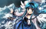 blue_hair collar dj_max_portable dress from_above highres long_hair looking_up wallpaper wings yuuki_tatsuya