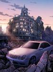 car clock cloud clouds highres motor_vehicle no_humans original overgrown ruins scenery sky tokyogenso vehicle