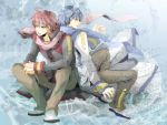 akaito back-to-back back_to_back bad_id blue_eyes blue_hair fang kaito konako male red_eyes red_hair redhead scarf sheet_music sitting vocaloid