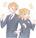 /\/\/\ 1boy 1girl blue_eyes dual_persona genderswap genderswap_(ftm) hair_ribbon hand_on_hip kousaka_honoka looking_at_viewer love_live! love_live!_school_idol_project marin_(myuy_3) necktie one_eye_closed one_side_up open_mouth orange_hair pants plaid plaid_pants plaid_skirt pleated_skirt ribbon school_uniform skirt striped striped_necktie