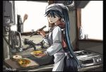 1girl black_eyes black_hair chopsticks commentary_request cooking food highres houshou_(kantai_collection) kantai_collection kappougi kitchen ladle long_hair looking_at_viewer obentou seitei_(04seitei) stove twitter_username