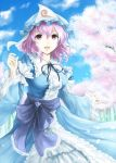 1girl blue_dress blue_sky breasts cherry_blossoms clouds dress hat japanese_clothes kz_nagomiya long_sleeves looking_at_viewer mob_cap obi open_mouth petals pink_eyes pink_hair ribbon saigyouji_yuyuko sash short_hair sky smile solo touhou tree triangular_headpiece wide_sleeves