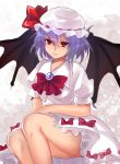 >:) 1girl bangs bat_wings blue_hair bow bowtie brooch closed_mouth dress hat hat_ribbon highres jewelry looking_at_viewer mob_cap puffy_short_sleeves puffy_sleeves red_bow red_bowtie red_eyes red_ribbon remilia_scarlet ribbon short_hair short_sleeves smile solo touhou upper_body white_dress wings x&x&x