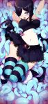 1girl arms_up black_hair breasts fishnets hair_over_one_eye highres lace lace-trimmed_skirt midriff navel open_mouth original skirt sticky_(stickysheep) striped striped_legwear tentacles thigh-highs