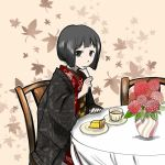 1girl black_eyes black_hair cake cheesecake commentary cup eating flower food fork haori japanese_clothes kimono leaf looking_at_viewer maple_leaf mouth_hold obi original orignal sash short_hair sitting solo table tablecloth tea teacup vase yukimiya_azuma