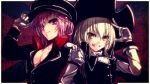 2girls aiguillette amemiya_amane black_hat black_jacket black_vest blonde_hair braid breasts buttons cleavage closed_mouth crossover eyebrows eyebrows_visible_through_hair eyelashes eyes_visible_through_hair gloves grin hair_between_eyes hair_over_one_eye hairband hand_on_another's_shoulder hand_on_headwear hat hat_tip highres jacket kateikyoushi_no_onee-san kirisame_marisa kurasaki_cority long_hair long_sleeves looking_at_viewer multiple_girls no_shirt outside_border peaked_cap pink_eyes pirate_hat purple_hair red_background salute shirt side-by-side side_braid small_breasts smile touhou turtleneck upper_body vest violet_eyes white_border white_gloves white_shirt wrist_cuffs yellow_eyes