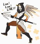 1boy bodysuit cosplay crossdressing english face_mask gloves highres hood mask mechanical_halo mechanical_wings mercy_(overwatch)_(cosplay) overwatch reaper_(overwatch) splashbrush staff wings