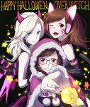3girls :d ;d animal_ears bangs bare_shoulders bell bell_collar black-framed_eyewear black_background blonde_hair blue_eyes brown_eyes brown_hair cape cat_ears cat_tail choker cloak closed_mouth collar copyright_name d.va_(overwatch) demon_horns elbow_gloves eyelashes fake_animal_ears fingernails fur_cape fur_trim glasses gloves glowing glowing_wings grin happy_halloween headphones highres holding hood hooded_cloak horns jingle_bell kalua_(artist) looking_at_viewer mechanical_wings mei_(overwatch) mercy_(overwatch) multiple_girls nail_polish one_eye_closed open_mouth overwatch paw_print pink_lips pink_nails pom_pom_(clothes) purple_wings simple_background smile star stick swept_bangs tail teeth turtleneck upper_body wings