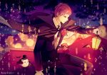 1boy bird black_bow black_bowtie black_cape black_suit bow bowtie character_request copyright_request flower formal hat kame_(unaikodori) lantern light_particles long_sleeves night on_roof red_eyes red_rose redhead rose sitting sky star_(sky) starry_sky suit top_hat twitter_username
