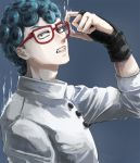 1boy adjusting_glasses black_eyes blue_hair clenched_teeth curly_hair from_side ghiaccio glasses gloves jojo_no_kimyou_na_bouken male_focus partly_fingerless_gloves solo teeth tsubakichi_(ssaaarmmmnf) upper_body