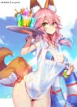 1girl animal_ears bikini breasts drink fate/extra fate/grand_order fate_(series) fox_ears fox_girl fox_tail hat hong_(white_spider) medium_breasts pink_hair sun_hat swimsuit tail tamamo_(fate)_(all) tamamo_no_mae_(swimsuit_lancer)_(fate) yellow_eyes