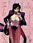 1girl alex_ahad black_hair bow bowtie breasts character_name cleavage dc_comics detached_collar finger_to_mouth gloves hat highres looking_at_viewer magician pantyhose shushing solo top_hat white_gloves zatanna_zatara