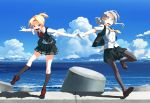 2girls asymmetrical_hair bangs black_legwear blonde_hair blouse blue_eyes blue_sky brown_footwear clouds day flipped_hair full_body gloves grey_eyes kantai_collection kneehighs leaning_forward loafers looking_at_viewer maikaze_(kantai_collection) multiple_girls neck_ribbon necktie nowaki_(kantai_collection) open_mouth outdoors outstretched_arms pantyhose parted_bangs pleated_skirt ponytail red_ribbon ribbon school_uniform scrunchie shoes short_ponytail silver_hair skirt sky standing standing_on_one_leg swept_bangs takuzui tetrapod vest wavy_mouth white_blouse white_gloves yellow_neckwear