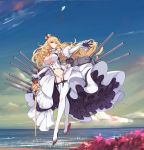 1girl black_gloves blonde_hair blue_eyes breasts cannon chess_piece cleavage commentary_request crown detached_sleeves earrings floating full_body garter_straps gloves high_heels jewelry juliet_sleeves large_breasts lion_(zhan_jian_shao_nyu) long_hair long_legs long_sleeves mecha_musume navel ntrsis ocean outstretched_arm photoshop puffy_sleeves scepter solo stomach suspenders thigh-highs white_legwear zhan_jian_shao_nyu