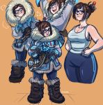 1girl black-framed_eyewear blush_stickers boots breasts brown_eyes brown_hair coat collage full_body fur_trim glasses gloves gun hair_bun hair_ornament hair_stick handgun kathleen_lim large_breasts mei_(overwatch) no_bra overwatch plump short_hair sideboob solo weapon wide_hips winter_clothes