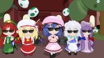 3d 5girls :< :3 :d apron ascot bat_wings beret black_shoes blender blonde_hair blue_bow blue_hair blue_ribbon boombox bow braid brooch brown_shoes chibi chinese_clothes clenched_hand commentary crescent crescent_hair_ornament crossed_arms crystal dress egg fang flandre_scarlet forest green_bow gs-mantis hair_bow hair_ornament hair_ribbon hat hat_ribbon highres hong_meiling izayoi_sakuya jewelry lavender_hair long_hair maid_apron maid_headdress mob_cap multiple_girls nature open_mouth outdoors pajamas patchouli_knowledge pink_dress puffy_short_sleeves puffy_sleeves purple_hair red_bow red_ribbon red_shoes red_skirt redhead remilia_scarlet ribbon scarlet_devil_mansion shoes short_hair short_sleeves side_braid side_ponytail silver_hair skirt skirt_set smile speaker star striped sunglasses the_embodiment_of_scarlet_devil touhou tree twin_braids very_long_hair violet_eyes waist_apron white_legwear wings yoshi_egg