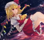 1girl :d ascot blonde_hair brooch clouds flandre_scarlet floating frilled_shirt_collar frilled_skirt frills glint hair_ribbon hands_on_own_stomach hands_together hat hat_ribbon highres jewelry looking_to_the_side looking_up mob_cap night night_sky open_mouth outdoors puffy_short_sleeves puffy_sleeves red_eyes ribbon short_hair short_sleeves side_ponytail skirt skirt_set sky smile solo star_(sky) touhou tress_ribbon twilight wing_collar wings x&x&x