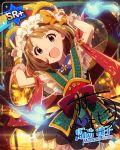 blue_eyes blush brown_hair character_name dress headdress idolmaster_million_live!_theater_days short_hair smile suou_momoko
