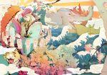 1boy bandana blonde_hair cause elephant facepaint fang flower highres japanese_clothes kimono kusuriuri_(mononoke) lantern long_hair makeup male_focus mononoke obi ofuda pointy_ears rhinoceros sash smoke tiger waves yellow_eyes