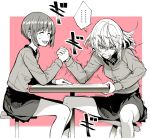 ... 2girls arm_wrestling bonkara_(sokuseki_maou) clenched_teeth closed_eyes commentary_request girls_und_panzer grimace hand_on_table hands_clasped holding itsumi_erika legs_apart military military_uniform multiple_girls nishizumi_miho open_mouth short_hair sitting sketch smile spoken_ellipsis stool sweatdrop table teeth trembling uniform