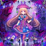 1girl absurdres album_cover american_flag_bow american_flag_dress american_flag_legwear asymmetrical_gloves bat blonde_hair blush bow bowtie card closed_mouth clownpiece commentary_request cover curtains dress embellished_costume facial_mark frilled_shirt_collar frills gloves hat highres holding holding_staff jester_cap koto_seori long_hair looking_at_viewer no_wings pantyhose pink_eyes playing_card polka_dot print_legwear puffy_short_sleeves puffy_sleeves short_dress short_sleeves smile solo staff standing star star_print striped touhou unmoving_pattern very_long_hair