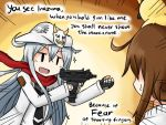 2girls brown_hair english gun hat hibiki_(kantai_collection) holding holding_weapon inazuma_(kantai_collection) kantai_collection meme multiple_girls necktie phantasy_star phantasy_star_online_2 rappy raythalosm scarf silver_hair simple_background stalker_(game) submachine_gun tagme verniy_(kantai_collection) weapon