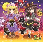 6+girls american_flag animal_ears black_hat black_skirt blonde_hair bow bowtie brown_eyes bunny_tail camera capelet clownpiece commentary_request crescent dango dress fedora flag flandre_scarlet food frilled_dress frilled_skirt frilled_sleeves frills full_moon gap ghost glasses gradient gradient_background hair_bow hair_ribbon halloween hat hat_bow hattifattener jack-o'-lantern jester kune-kune kurodani_yamame laevatein long_sleeves maribel_hearn mob_cap moomin moon multiple_girls mushroom neck_ribbon orange_background orange_bow pote_(ptkan) puffy_pants purple_background purple_dress rabbit_ears red-framed_eyewear red_bow red_bowtie red_ribbon ribbon ribbon-trimmed_skirt ringo_(touhou) saigyouji_yuyuko sash semi-rimless_glasses shirt silhouette silk skirt spider_web star striped striped_bow tail tongue tongue_out torch touhou tress_ribbon triangular_headpiece trick_or_treat under-rim_glasses usami_renko usami_sumireko wagashi white_shirt wings yellow_eyes