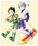 2boys backpack bag belt black_hair black_shirt blue_eyes blue_shorts boots cannan fishing_rod gon_freecss green_boots green_jacket green_shorts hands_in_pockets hunter_x_hunter jacket killua_zoldyck long_sleeves multiple_boys open_mouth shirt short_hair shorts skateboard smile spiky_hair star starry_background white_hair white_shirt yellow_background