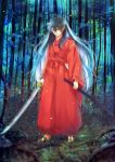 1boy barefoot black_hair fang forest grass highres inuyasha inuyasha_(character) japanese_clothes jewelry katana long_hair motobi_(mtb_umk) multicolored_hair nature necklace pointy_ears sheath smirk solo sword two-tone_hair weapon white_hair yellow_eyes