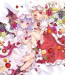 2girls apple bat_wings bell_pepper blonde_hair bow collar crystal dress fangs flandre_scarlet food food_themed_hair_ornament frilled_collar frilled_skirt frilled_sleeves frills fruit grape_hair_ornament grapes hair_ornament hat highres lavender_hair leaf looking_at_viewer lying mob_cap multiple_girls nail_polish on_side open_mouth pepper pointy_ears puffy_short_sleeves puffy_sleeves red_bow red_dress red_eyes red_nails remilia_scarlet short_sleeves side_ponytail skirt smile touhou toutenkou white_bow white_dress white_hat wings wrist_cuffs