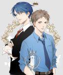 1boy 1girl belt blue_hair brown_hair gekkan_shoujo_nozaki-kun green_eyes hori_masayuki kashima_yuu necktie par. reverse_trap school_uniform short_hair