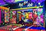 1boy bandana blonde_hair confetti facepaint indoors japanese_clothes kimono kusuriuri_(mononoke) long_hair looking_at_viewer magatan makeup male_focus mononoke obi pointy_ears sash sheath solo sword_of_exorcism