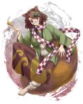 1girl animal_ears bracelet breasts brown_eyes brown_hair checkered_scarf futatsuiwa_mamizou glasses gradient gradient_background hair_ornament head_tilt highres jacket japanese_clothes jewelry kimono leaf_hair_ornament light_smile long_sleeves looking_at_viewer medium_breasts pince-nez pipe raccoon_ears raccoon_tail sagging_breasts scarf semi-rimless_glasses short_hair sitting_on_tail solo tabi tail touhou under-rim_glasses usagi_niku