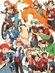 6+boys alternate_costume backpack backwards_hat bag bandaid bandaid_on_face bandaid_on_knee baozi baseball_cap beret bicycle black_hair blue_eyes breath brown_eyes brown_hair carrying charizard charmander drifloon fingerless_gloves food food_on_face gloves gold_(pokemon) green_eyes grey_eyes grin ground_vehicle gym_shorts gym_uniform hand_on_another's_head hat highres injury jacket kouki_(pokemon) looking_at_another looking_at_viewer multiple_boys multiple_persona multiple_views nuku orange_gloves outline picking_up pokemon pokemon_(creature) pokemon_(game) pokemon_dppt pokemon_gsc pokemon_hgss pokemon_rgby pokemon_rse red_(pokemon) red_(pokemon)_(classic) red_(pokemon)_(remake) riding riolu scarf sceptile sentret shoes short_hair short_sleeves shorts shoulder_carry simple_background sitting smile sneakers stretch track_jacket typhlosion white_background yuuki_(pokemon) yuuki_(pokemon)_(remake) yuuki_(pokemon_emerald)