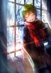 1boy :d akiyama_hayato blush breath brown_gloves closed_eyes coat curtains double-breasted gloves green_hair hand_in_pocket idolmaster idolmaster_side-m lens_flare male_focus open_mouth scarf shigaraki_(strobe_blue) smile snow solo transparent tree_branch window winter_clothes winter_coat