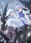 1girl blue_vest boots breasts brown_boots closed_mouth from_below head_scarf highres juliet_sleeves lavender_eyes lavender_hair letty_whiterock light_smile long_sleeves looking_at_viewer medium_breasts mumyuu outdoors pants puffy_sleeves scarf short_hair sitting snowing solo touhou white_pants white_scarf