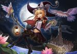 1girl bird black_boots black_hat black_legwear blonde_hair boots bow bowtie broom broom_riding clouds cloudy_sky detached_sleeves fang flower frog full_body hair_bow hair_ribbon hat hat_bow highres kirisame_marisa lake lantern lily_pad looking_at_viewer midriff mini-hakkero misty_lake navel night night_sky open_mouth pink_flower purple_skirt recare red_bow red_bowtie red_cape ribbon scarlet_devil_mansion shirt skirt sky smile solo splashing star_(sky) starry_sky thigh-highs touhou tress_ribbon water white_bow white_ribbon white_shirt witch witch_hat yellow_eyes