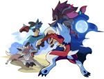 canine claws fighting lucario lycanroc moon nganlamsong pokemon pokemon_(game) pokemon_sm sun zoroark