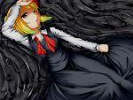 1girl blonde_hair darkness hair_ribbon red_eyes ribbon rody_(hayama_yuu) rumia shirt short_hair skirt touhou vest