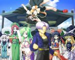 antenna_hair ascot belt black_hair black_wings blonde_hair blue_eyes blue_sky blurry bow braid breasts chinese_clothes cleavage cleavage_cutout clenched_hand clouds crossover depth_of_field detached_sleeves dragon_ball dragon_ball_z frown green_eyes green_hair grin hair_bow hair_tubes hairband hakurei_reimu hand_on_hip hat highres hong_meiling jacket japanese_clothes kamishima_kanon kirisame_marisa kochiya_sanae konpaku_youmu large_breasts lavender_hair midriff miko navel oonusa outstretched_arm pectorals polaroid red_eyes redhead ribbon-trimmed_sleeves ribbon_trim shameimaru_aya sheath shrine sky smile sweatdrop sword touhou trunks_(dragon_ball) twin_braids upside-down weapon white_hair wide_sleeves wings witch_hat wrist_cuffs