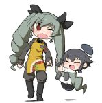 2girls anchovy anzio_(emblem) apron belt beret black_boots black_hair black_shirt black_shoes black_skirt boots braid closed_eyes commentary dress_shirt drill_hair emblem full_body girls_und_panzer green_hair grey_jacket grey_pants hair_ribbon hanging hat knee_boots loafers long_hair long_sleeves looking_at_another mansyontintai military military_uniform miniskirt multiple_girls necktie one_eye_closed open_mouth pants pantyhose pepperoni_(girls_und_panzer) pleated_skirt red_eyes ribbon school_uniform shirt shoes short_hair shoulder_belt side_braid skirt smile standing tearing_up twin_drills twintails uniform white_legwear white_shirt wince younger