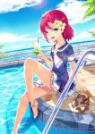 1girl anklet barefoot collarbone cup dress drinking_straw flower food green_eyes hair_flower hair_ornament highres ice_cream ice_cream_float jewelry original petite pink_hair platform_footwear pool poolside sailor_collar sandals sandals_removed shoes_removed short_hair sitting sky smile solo