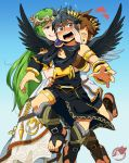 1girl 2boys armlet artist_name black_hair black_shorts black_wings blue_background blush bracelet bracer brooch brown_eyes brown_hair dark_pit feathered_wings gradient gradient_background green_eyes green_hair grin heart jewelry kid_icarus long_hair multiple_boys open_mouth palutena pit_(kid_icarus) sandals sei_(seiryuuden) shorts sleeveless smile sparkle tiara toga tongue tongue_out watermark wavy_mouth white_wings wings