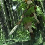 1boy 1girl arms_at_sides belt_buckle blonde_hair blue_eyes boots brown_boots buckle butterfly dappled_sunlight fairy forest gem green green_hat grey_eyes hat holding holding_sword holding_weapon light_particles link looking_away minigirl moss nature navi one_eye_covered outdoors plant po_(poppa-pict) pointy_ears shade shield short_sleeves sunlight sword the_legend_of_zelda the_legend_of_zelda:_ocarina_of_time tree tunic walking weapon
