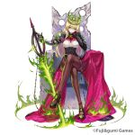 absurdres armor artist_request blonde_hair character_request company_name copyright_request crossed_legs crown expressionless fire green_eyes hand_on_own_chin highres holding holding_sword holding_weapon long_hair pantyhose simple_background sitting sword throne weapon white_background