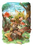 1girl animal_ears armpits axe blonde_hair blue_eyes blurry boned_meat boots canteen city clouds commentary depth_of_field fantasy fingerless_gloves flower food fox_ears fox_tail gloves grass happy knee_boots knife kyuusugi_toku leaf leaning_forward looking_at_viewer meat midriff mushroom navel original outstretched_arm pouch reaching_out scarf short_hair short_shorts shorts side_braids sitting sky smile solo tail thigh_strap tree unbuttoned weapon