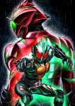 2boys absurdres belt commentary_request green_eyes highres kamen_rider kamen_rider_amazon_alpha kamen_rider_amazon_omega kamen_rider_amazons male masukudo_(hamamoto_hikaru) multiple_boys red_eyes