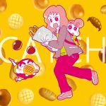 apple baby bag baguette bread cake chobisato crayon_shin-chan dorayaki food fruit highres koyama_musae nohara_himawari nohara_shinnosuke pancake wagashi yellow_background